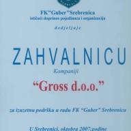 Zahvalnica FK Guber 2007.