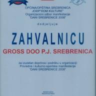 Zahvalnica opština Srebrenica 2008.