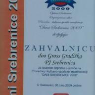 Zahvalnica opština Srebrenica 2009.