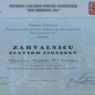 Zahvalnica opštine Srebrenica 2011.