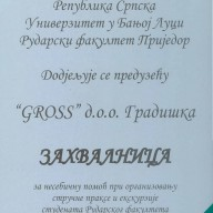 Zahvalnica Rudarski fakultet 2011.