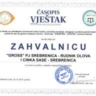 Zahvalnica časopis vještak Banja Luka