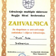Zahvalnica udruženje multiple skleroze Regije Birač
